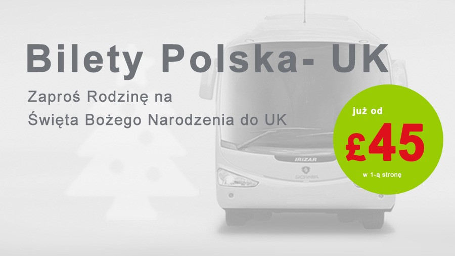 Autokarem do UK od £45 - Święta BN'20 w UK
